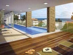 Perspectiva da Piscina com Deck e Raia do Porto Atlântico Residencial