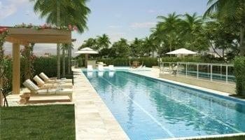 Perspectiva da piscina com raia e prainha do Condomínio Reserva das Árvores