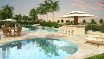 Perspectiva da piscina infantil do Condomínio Reserva das Árvores
