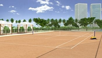 Perspectiva da quadra de tênis do Condomínio Reserva das Flores