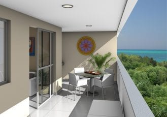 Perspectiva da varanda do Residencial Torre Mariano