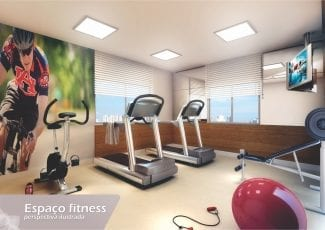 Perspectiva do Espaço fitness do Residencial Recanto da Vila