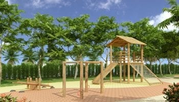 Perspectiva do playground infantil