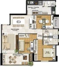 Planta baixa - 2 quartos com suíte e gabinete