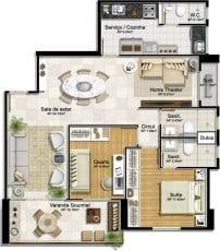 Planta baixa - 2 quartos com suíte e home theater
