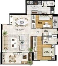 Planta baixa - 2 quartos com suíte e living ampliado
