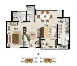 Planta Baixa - 2 quartos com suíte em 62,65m2