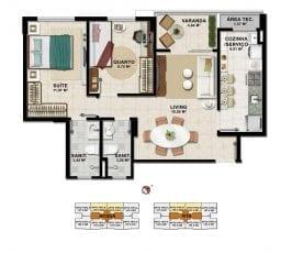 Planta Baixa - 2 quartos com suíte em 62,81m2