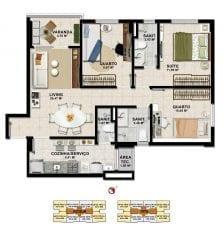 Planta Baixa - 3 quartos com suíte em 74,73m2