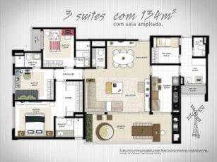 Planta Baixa - 3 suítes com sala ampliada e 134m2 de área privativa