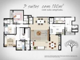 Planta Baixa - 3 suítes com sala ampliada e 180m2 de área privativa