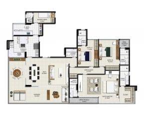Planta baixa - Apartamento Tipo - Opção 3