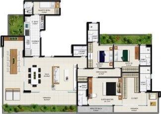 Planta baixa - Apartamento Tipo - Suíte Master Ampliada - 3 suítes