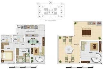 Planta baixa - Cobertura Duplex Tipo A1 - 103,36m2, área privativa inclui 37,63m2 de terraço
