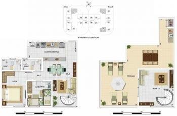 Planta baixa - Cobertura Duplex Tipo A3 - 104,91m2, área privativa inclui 39,18m2 de terraço