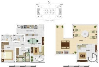 Planta baixa - Cobertura Duplex Tipo A4 - 105,40m2, área privativa inclui 39,67m2 de terraço