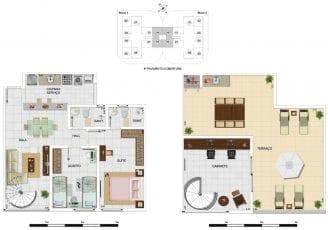 Planta baixa - Cobertura Duplex Tipo C - 111,13m2, área privativa inclui 40,02m2 de terraço