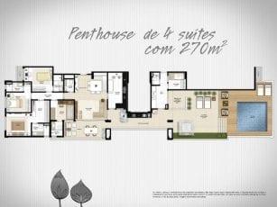Planta Baixa - Penthouse de 4 suítes com 180m2 de área privativa