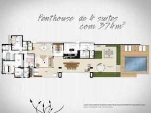 Planta Baixa - Penthouse de 4 suítes com 374m2 de área privativa