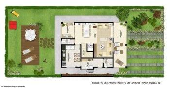 Planta baixa - Terreno Casa modelo 2