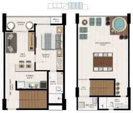 Planta baixa - Tipo 07 - Cobertura Duplex - 93,65m2 de área privativa