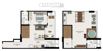 Planta baixa - Tipo 08 - Cobertura Duplex - 105,12m2 de área privativa