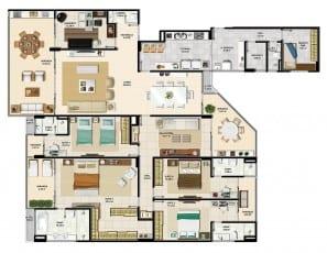 Apartamento 3 quartos tipo da torre norte 2 do La Vista Morro do Conselho com 301,74m² de área privativa.