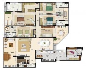 Apartamento tipo 4 quartos da torre sul 1 do La Vista Morro do Conselho com 288,68m² de área privativa.