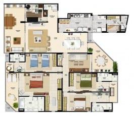 Apartamento tipo da torre sul 2 do La Vista Morro do Conselho com 286,92m² de área privativa.
