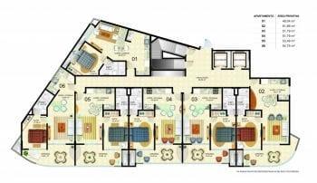 Planta baixa dos apartamentos