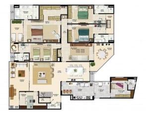 Pavimento inferior do apartamento cobertura da torre sul 1 do La Vista Morro do Conselho com 288,68m² de área privativa.