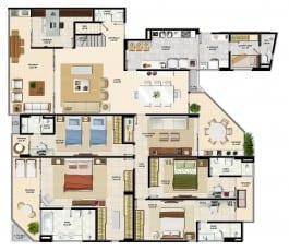 Pavimento inferior do apartamento cobertura da torre sul 2 do La Vista Morro do Conselho com 286,92m² de área privativa.