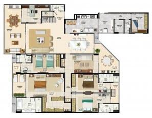 Pavimento inferior do apartamento cobertura com 4 suítes da torre norte 2 do La Vista Morro do Conselho com 301,74m² de área privativa.