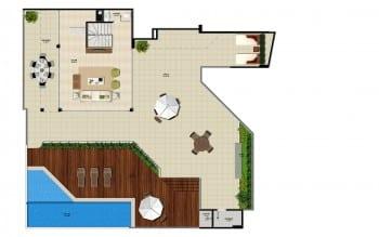 Pavimento superior do apartamento cobertura da torre sul 1 do La Vista Morro do Conselho com 285,06m² de área privativa.