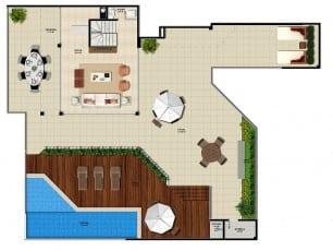 Pavimento superior do apartamento cobertura da torre norte 2 do La Vista Morro do Conselho com 298,09m² de área privativa.