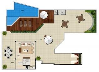 Pavimento superior do apartamento cobertura da torre norte 1 do La Vista Morro do Conselho com 369,49m² de área privativa.
