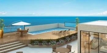 Perspectiva da cobertura do La Vista Morro do Conselho, são apartamentos de luxo, requinte e sofisticação com 4 quartos no Rio Vermelho.