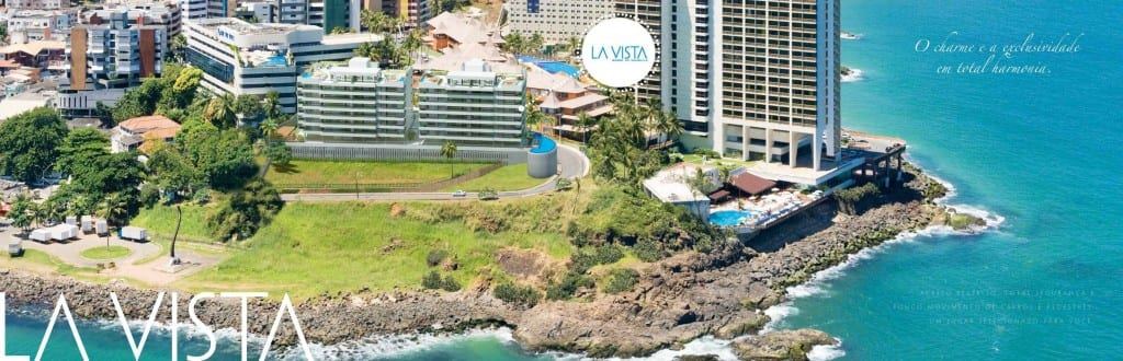 Perspectiva da implantação do La Vista Morro do Conselho, apartamentos de luxo, requinte e sofisticação com 4 quartos no bairro do Rio Vermelho.