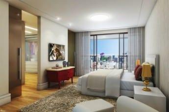 Perspectiva da Suíte do apartamento 3 quartos e do apartamento 4 quartos da Mansão Bahiano de Tênis, localizado no bairro da Graça