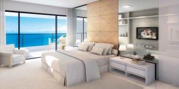 Perspectiva da Suíte Master do La Vista Morro do Conselho, apartamento de luxo, requinte e sofisticação com 4 quartos no bairro do Rio Vermelho em Salvador, Bahia.