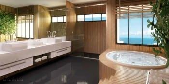 Perspectiva do banheiro Suíte Master do La Vista Morro do Conselho, apartamentos de luxo, requinte e sofisticação com 4 quatos no bairro do Rio Vermelho.