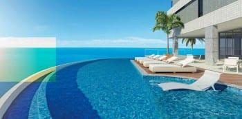 Perspectiva da piscina com borda infinita do La Vista Morro do Conselho, apartamentos de luxo, requinte e sofisticação com 4 quartos no bairro do Rio Vermelho em Salvador.