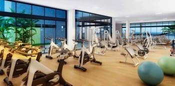 Perspectiva da academia de ginástica do La Vista Morro do Conselho, apartamentos de luxo, requinte e sofisticação com 4 quartos no bairro do Rio Vermelho em Salvador.