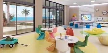 Perspectiva do espaço kids do La Vista Morro do Conselho, apartamentos de luxo, requinte e sofisticação com 4 quartos no bairro do Rio Vermelho em Salvador.