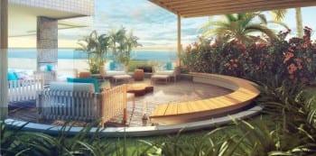 Perspectiva do Espaço Zen do La Vista Morro do Conselho, apartamentos de luxo, requinte e sofisticação com 4 suítes no bairro do Rio Vermelho.