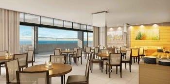 Perspectiva do salão para recepção e espaço gourmet do La Vista Morro do Conselho, apartamentos de luxo, requinte e sofisticação com 4 quartos no bairro do Rio Vermelho em Salvador.