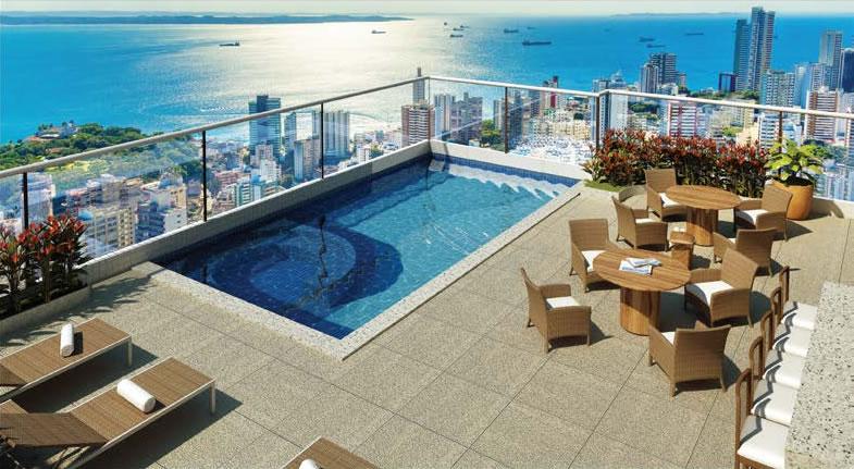 Perspectiva da piscina do apartamento cobertura da Mansão Bahiano de Tênis, 3 e 4 suítes na Graça