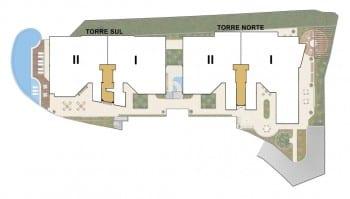 Planta Baixa da posição das torres do La Vista Morro do Conselho, apartamento de luxo com 4 quartos no bairro do Rio Vermelho.