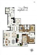 Planta baixa do apartamento de 305 m2 com 3 suítes e living ampliado na Mansão Bahiano de Tênis, 3 e 4 quartos na Graça