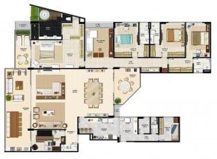 Planta baixa do apartamento padrão do La Vista Morro do Conselho, apartamento de luxo com 4 quartos do bairro do Rio Vermelho em Salvador.